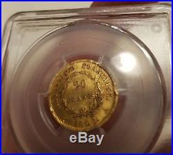Superbe 20 Francs Or Gold Napoléon I 1808 A Type République PCGS AU58