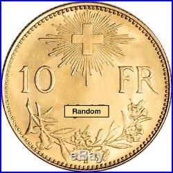 Swiss Gold 10 Francs (. 0933 oz) Helvetia XF/AU Random Date