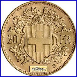 Swiss Gold 20 Francs (. 1867 oz) Helvetia BU Post 1933 Random Date