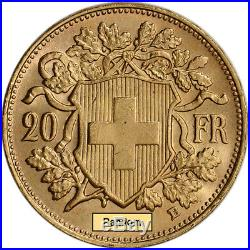 Swiss Gold 20 Francs (. 1867 oz) Helvetia BU Pre 1934 Random Date