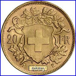 Swiss Gold 20 Francs (. 1867 oz) Helvetia XF AU Post 1933 Random Date