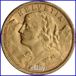 Swiss Gold 20 Francs (. 1867 oz) Helvetia XF/AU Pre 1934 Random Date
