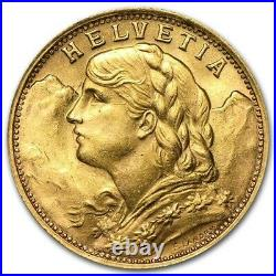 Swiss Gold 20 Francs Helvetia 0.1867 oz of Gold Avg Random Year