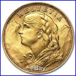 Swiss Gold 20 Francs Helvetia Coin AU (Random Year) SKU #151896