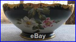 T&v Limoges France Hand Painted Roses Rose Blossoms Punch Bowl Heavy Gold