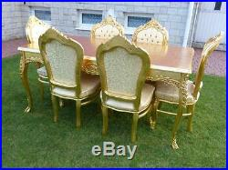 Table Baroque Style Table + 6 Chairs Gold #mb8