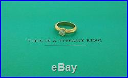 Tiffany & Co. France. 94ct Round G VVS2 Diamond Bezel Ring 18K Yellow Gold GIA