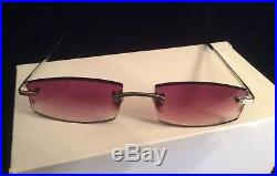 VINTAGE CARTIER RIMLESS BROWN GRADIENT LENS SUNGLASSES MADE IN FRANCE WithBOXES