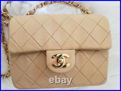 VTG CHANEL Classic Flap Mini Square Beige Gold Leather Shoulder/Crossbody Bag