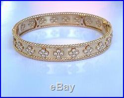 Van Cleef & Arpels 18K Rose Gold Perlee Diamond Bangle Bracelet