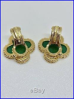Van Cleef & Arpels 18K Yellow Gold Vintage Alhambra Chrysoprase Earrings