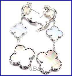 Van Cleef & Arpels Magic 18k Gold Alhambra Chalcedony Mother of Pearl Earrings
