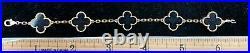 Van Cleef & Arpels Vintage Alhambra 5p Bracelet Onyx 18k Yellow Gold With Case
