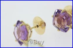 Vianna Brasil 18k Gold Rose De France Amethyst, Praziolit, & Diamond Earrings