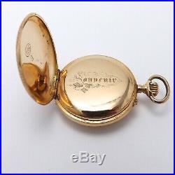 Victorian 18k Gold French Enamel Love Letter Pidgeon 4 Leaf Clover Pendant Watch