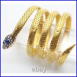 Victorian Bracelet Bangle Gold Sapphire Diamonds Rubies Snake w Appraisal (6247)