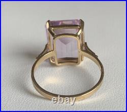 Vintage 18k Yellow Gold Rose De France Amethyst Ring Size 7.75