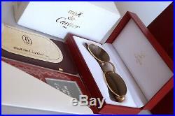 Vintage 90s Cartier GIVERNY Wood Bubinga Sunglasses Occhiali Original lens NOS