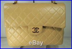 Vintage CHANEL 1986-88 Medium Beige Caviar Leather Timeless Classic Flap Bag