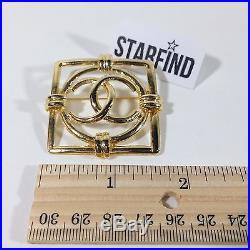 Vintage CHANEL CC Logos Brooch Pin Gold Tone Metal Corsage Accessories France