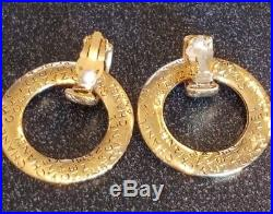Vintage CHANEL Designer Gold Made In France CC Clip On Large Hoop Earrings 1980s