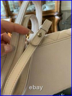 Vintage CHANEL Quilted Lambskin Double Flap Beige / Nude Handbag Bag
