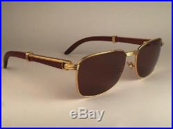 Vintage Cartier Amboise Precious Wood & Gold 58mm 18 Sunglasses France 18k