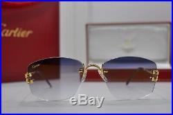 Vintage Cartier C DECOR DIAMOND ct. 0.50 RIMLESS Sunglasses Occhiali Lunette NOS