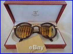 Vintage Cartier Cabriolet Round Brown Big 52 Sunglasses 18k Gold France 1990's