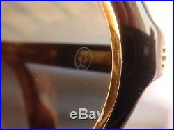 Vintage Cartier Diabolo Gold 53mm Black 24k Sunglasses 18k Gold France