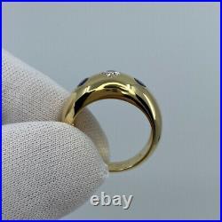 Vintage Cartier Diamond & Blue Sapphire 18k Yellow Gold Three Stone Gypsy Ring