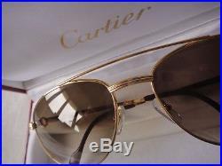 Vintage Cartier Driver Louis! Large! 60mm Sunglasses France 18k Gold Plated