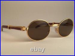 Vintage Cartier Giverny 18k Gold & Wood 51/20 Full Set Brown Lens Sunglasses