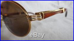 a0fbe65b43 Vintage Cartier Giverny Gold   Wood 51 20 Full Set Brown Lens France  Sunglasses