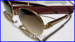 Vintage Cartier Giverny Gold & Wood 52mm Brown Lens France Sunglasses