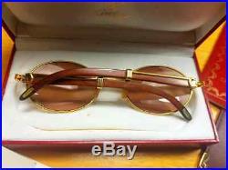 Vintage Cartier Giverny Gold & Wood 55mm Brown Lens France Sunglasses Full Set