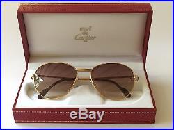 Vintage Cartier Louis 2x Sapphire 55mm Sunglasses 18k Heavy Gold Plated France