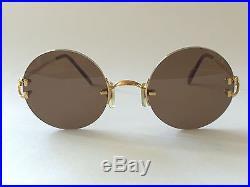 Vintage Cartier Madison Round Gold 49mm Brown Lens France Sunglasses