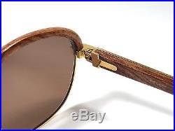 Vintage Cartier Malmaison Bubinga Precious Light Wood 54mm Sunglasses France 18k