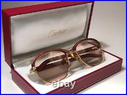 Vintage Cartier Malmaison Bubinga Precious Wood 56mm Sunglasses France 18k