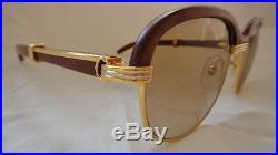 Vintage Cartier Malmaison Palisander Wood 54mm 17 Sunglasses France 18k