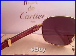 Vintage Cartier Monceau Gold & Wood 53/18 Drake Brown Lenses France Sunglasses