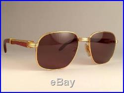 Vintage Cartier Monceau Gold & Wood 55/18 Drake Brown Lenses France Sunglasses