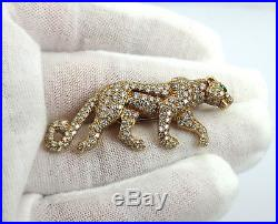 Vintage Cartier Panther 3.50ct Diamond & Emerald 18K Yellow Gold Brooch Panthere