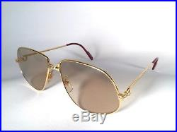 Vintage Cartier Panthere 63mm Large Sunglasses France 18k Gold Heavy Plated