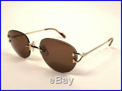 Vintage Cartier Salisbury Rimless Gold Brown Lenses Sunglasses Made In France