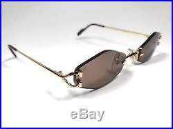 Vintage Cartier Soho Rimless Gold Brown Lenses Sunglasses Made In France