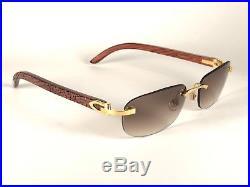Vintage Cartier Sperone Precious Wood Zebra Motif C Decor Sunglasses France 18k
