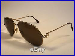 Vintage Cartier Vendome 62 Mint Aviator Brown Lens Sunglasses France 18k