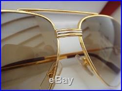 Vintage Cartier Vendome Medium 59mm Brown Lens Sunglasses France 18k Gold Plated